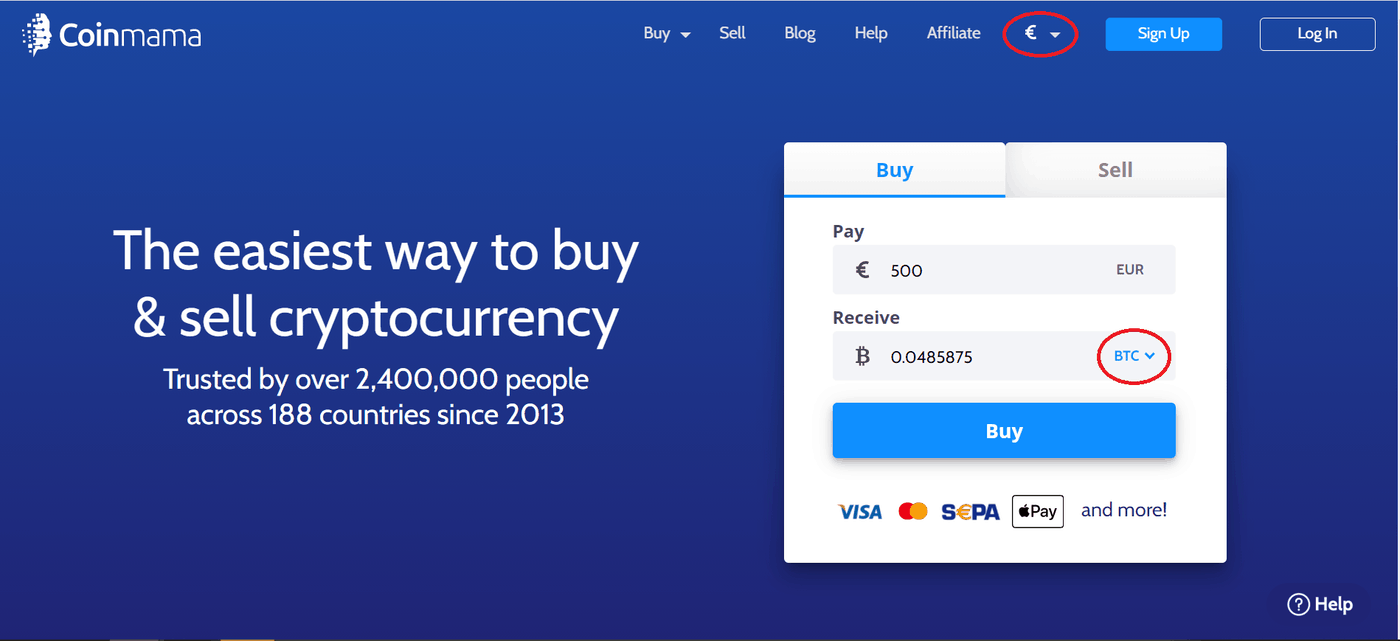 An image of CoinMama, an alternative to Coinbase.
